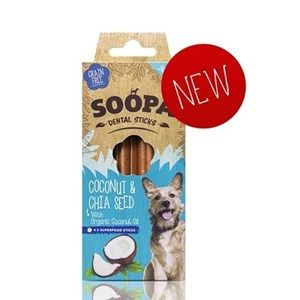 Soopa - Dental Sticks -  Coconut & Chia Seed  - x 4 Sticks